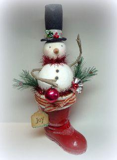 antique snowmen decorations | Holiday Decor Vintage Style Large Snowman in Antique Santa Boot ...
