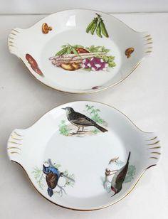 2 Louis Lourioux round porcelain gratin dishes vegetables birds Le Fauna…