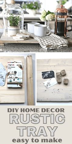 How to Make a Rustic Wood Tray with Feet. Use Sugru moldable glue for creative diy projects. Diy Crafts For Home Decor, Diy Craft Projects, Diy Crafts For Kids, Decorating Your Home, Diy Rustic Decor, Boho Decor, Farmhouse Decor, Rustic Wood, Sugru Mouldable Glue