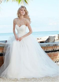 Elegant Tulle Jewel Neckline A-line Wedding Dress
