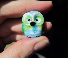 Destash - Artisan Lampwork Glass Owl Bead by Denise Shipley, DeniseAnnette - Blue, Green by ABeadAddictsDestash on Etsy https://www.etsy.com/listing/228830091/destash-artisan-lampwork-glass-owl-bead