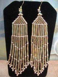 Seed Bead Earrings - Earthtone Chandelier Earrings
