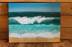 Easy Canvas Art, Acrylic Canvas, Painting Inspiration, Art Inspo, Watercolor Wave, Ocean Art, Landscape Paintings, Art Drawings, Wave Rock