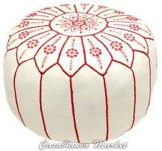 Moroccan Embroidered Leather Pouf - http://www.furniturendecor.com/moroccan-embroidered-leather-pouf-red-on-white-stuffed/- Related categories: Furniture, Home and Kitchen, Living Room Furniture, Ottomans