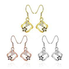 Boucles d'oreilles Femme Coréen Fleur Plaqué or Plaqué or rose Plaque palatine Alliage Cristal