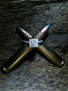 Wedding ring photo with bullets