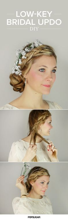 Braids, bun, flowers? Check, check, check! This bridal hairstyle DIY incorporates everything elegant for the perfect wedding look.