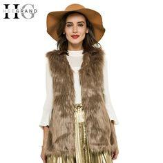 HEE GRAND 2016 Autumn Winter Faux Fur Vest Colete De Pele Falso Jacket  Casacos Femininos Womens e05eac7dfd53