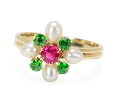 Colorful Bouquet: Ruby Pearl Demantoid Ring - The Three Graces