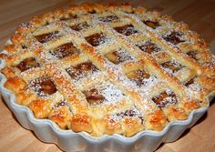 Rácsos almás pite recept foto Hungarian Desserts, Hungarian Cuisine, Hungarian Recipes, Pie Recipes, Cookie Recipes, Fun Desserts, Dessert Recipes, Torte Cake, Homemade Sweets
