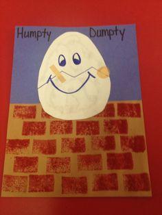 Make a paper Humpty Dumpty craft using paper and glue. Rhyming Preschool, Preschool Books, Preschool Themes, Preschool Activities, Nursery Rhyme Crafts, Nursery Rhymes Preschool, Nursery Rhyme Theme, Nursery Rhythm, Nursery Rymes