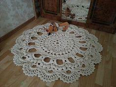 Crochet Rug Round Rug Gray Rug Handmade Rug by surprisearrangement