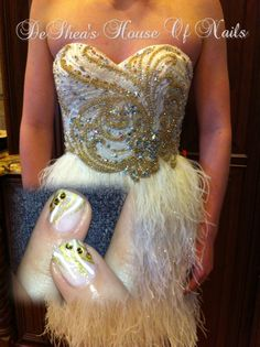 Homecoming design for dress! Shellac romantic with VIP gold status! #nailart #nails #beauty