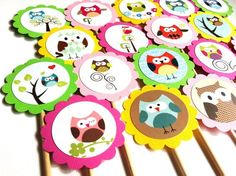 Cute Owl Cupcake Toppers for Birthday or Baby Shower Party - Set of 12 | adorebynat - Seasonal on ArtFire