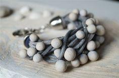 Charm bracelet with ceramic balls Bead Bracelet Wrap by bemika, $18.00