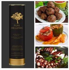 Pure Hellenic Summer Delicacies. Adorable meatballs, roasted octopus and rice -stuffed peppers and tomatoes,by master-che f Pure Hellenic Premium Extra Virgin Olive Oil