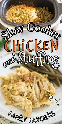 Oh my gosh, y'all - this is just like Sunday dinner at Grandma's! This easy crock pot chicken and stuffing casserole is creamy and comforting! I've included oven instructions in case you need them. It would be perfect for a small Thanksgiving celebration. #casserole #crockpot #slowcooker #easy #thanksgiving Crockpot Chicken And Dressing, Chicken And Dressing Casserole, Slow Cooker Chicken, Stuffing Casserole, Casserole Dishes, Thanksgiving Celebration, Thanksgiving Recipes, Slow Cooker Recipes, Crockpot Recipes