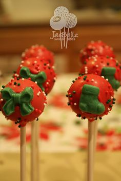 Red Christmas Cake Pops with Green Bows & Stockings