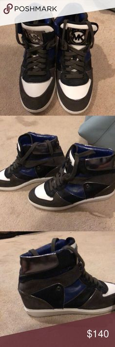 Michael Kors Wedge Sneakers Gently used, never worn outdoors. Black, royal blue, white, black, and charcoal wedge sneakers. Leather and suede. Michael Kors Shoes Sneakers
