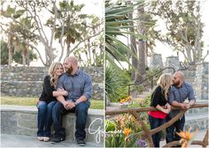 Laguna Beach Engagement Session! Orange County Photographer, CA, Cali, California, Engagement, Happy Couple, Love, Romance, In Love, Beautiful, Smiles, Outdoors, Plants, Holding Hands, Cuddling, Red Shirt, Cork Wedges, Button Down, Beard, Bald, Birds of Paradise, Amphitheater, Park, Stone, Kiss, Kissing, Holding Each other  GilmoreStudios.com