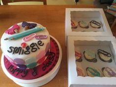 Smiggle themed cake and cupcakes