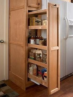 There are two very important options that should be considered in every large kitchen pantry cabinet design. Galley Kitchen Design, Small Galley Kitchens, Galley Kitchen Remodel, Kitchen Pantry Cabinets, Kitchen Storage, Home Kitchens, Kitchen Remodeling, Pantry Storage, Extra Storage
