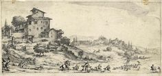 Jacques Callot (1592 - 1635), La caccia al cervo. 1618 ca. Etching. From engraved Landscapes for Giovanni de 'Medici, series in 4 tables made around 1618.