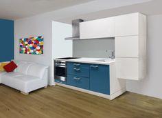 Laguna - kuchyňský blok, 2,74m (bílá HG/lagunově modrá mat)