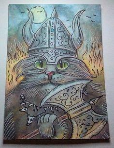 ACEO-Painting-fantasy-funny-animal-cat-kitten-kitty-viking-warrior-axe-moon-fire