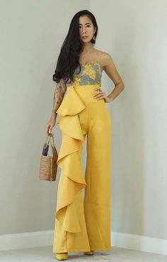 ea74081cf4 Women's Yellow Mustard High Wiasted Side Ruffle Wide leg Trouser/ vintage  70s Fashion/Cocktail pants
