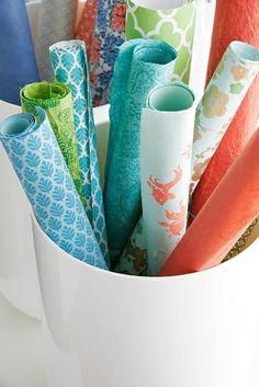 Color Me Pretty: gift wrapping storage Color Combos, Color Schemes, Diy And Crafts, Paper Crafts, Orange And Turquoise, Teal Coral, Turquoise Color, Blue Green, Coral Springs