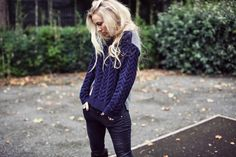 Blogger Sandra Hagelstam of 5 inch and up wearing our Eudon Choi navy textured jumper. Available in selected stores and online at riverisland.com #riverisland #eudonchoi #designforum