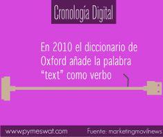 """#CronologíaDigital En 2010 el diccionario de Oxford añade la palabra """"text"""" como verbo #text #dato"""