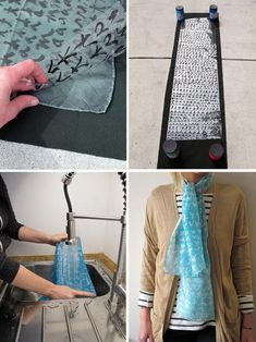 DIY-- Make an awesome scarf using sun dye called Cyanotype. Diy Projects To Try, Crafts To Make, Fun Crafts, Craft Projects, Craft Ideas, Diy Ideas, Fabric Painting, Fabric Art, Fabric Crafts