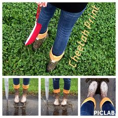 Our #RainyDay #OOTD includes #CheetahPrint and #BrightPaintbrush #BootsByTwoAlity!!! #RainStyle #RainBoots #MadeintheUSA #ClearBoots #InterchangeableLiners Pictured here- Cheetah Print #BootsByTwoAlity!! #FallColors #FallPattern #FallStyle #Boots
