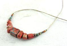 Artisan Ceramic Stoneware Beads Urchin Red by greybirdstudio, £32.00