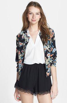 Lush Lace Trim Floral Print Shorts (Juniors) | Nordstrom