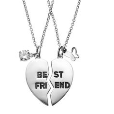 """Journee Collection Cubic Zirconia Sterling Silver """"Best Friends"""" Heart... (295 RON) ❤ liked on Polyvore featuring jewelry, jewelry/ piercings, multicolor, pendant necklace, sterling silver necklace pendant, sterling silver pendant necklace, heart pendant and heart jewelry"""