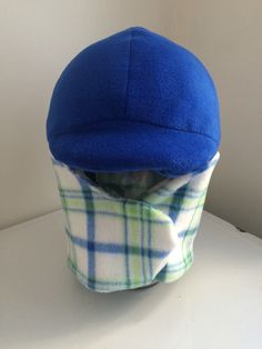 Ready to Ship REVERSIBLE  royal/green plaid Equine Horseback Riding Winter Helmet Cover handmade horse tack Equestrian Wear by TheStitchingHorse on Etsy https://www.etsy.com/listing/257881029/ready-to-ship-reversible-royalgreen