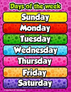 Days of the Week Chart by School Smarts Fully Laminated,Durable Material Rolled and SEALED in Plastic Poster Sleeve for Protection. Discounts are in the special offers section of the page. English Activities For Kids, Learning English For Kids, English Worksheets For Kids, English Lessons For Kids, Teaching English, Classroom Rules Poster, Classroom Charts, Classroom Calendar, Classroom Bulletin Boards
