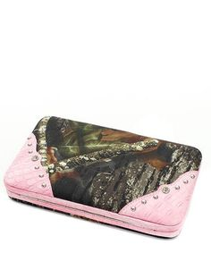 Mossy Oak Pink Camo Camouflage Rhinestone Western Flat Clutch Wallet. Mossy Oak Licensed Fashion Wallet. ID Pocket with Window & Credit Card Slot. Snap Closure. Checkbook Holder Included. Materials: Canvas & Faux Leather.