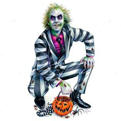 Finished Beetlejuice commission for I had a lot of fun revisiting my Halloween Beetlejuice for this client and including… Halloween Party Decor, Vintage Halloween, Fall Halloween, Halloween Costumes, Beetlejuice, Horror Photos, Tim Burton Art, Jokes Pics, Halloween Drawings