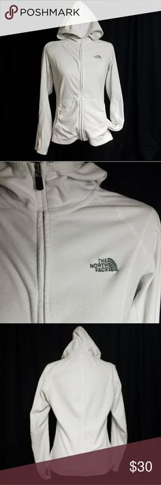 north face women's fleece hoodie used north face women's fleece hoodie This is a fitted hoodie with thumb holes and ruched pockets, worn very few times. Shows very slight pilling in some areas due to washing, as The North Face fleece products often do (shown in picture). has some minor flaws shows on picture 4 and 5 The North Face Tops Sweatshirts & Hoodies