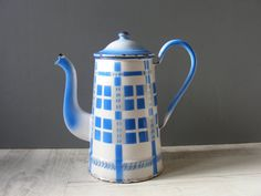 Vintage French White with Blue Checkered by GrisSourisBrocante, $54.00