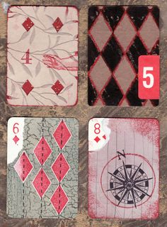 ... four diamond cards  ... altered playing cards by : penelope harris ... as seen at her blog : radiantcrust ...