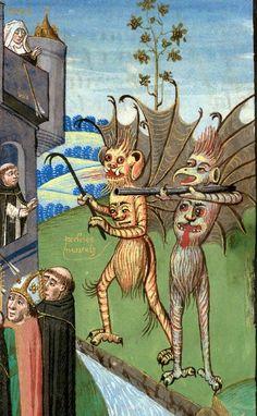 Valenciennes - BM - ms. 0244 f. 027. Alphonsus de Spina, La Forteresse de la foi. France, 15th century.Your money or your life!