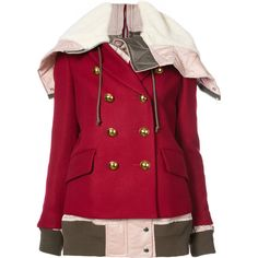 Sacai fusion bomber pea coat (136.975 RUB) ❤ liked on Polyvore featuring outerwear, coats, red, red hooded coat, oversized coat, hooded coat, oversized hooded coat and red pea coat