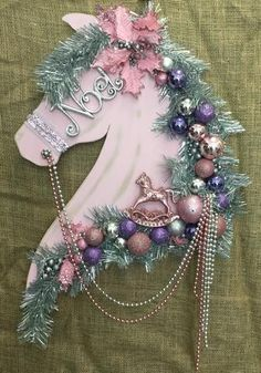 2017 In Stock Embellished Equine Wreaths Western Christmas, Christmas Horses, Pink Christmas, Christmas Wreaths, Christmas Decorations, Christmas Ornaments, Christmas Tree, Christmas Projects, Holiday Crafts