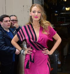 """Blake Lively wearing Kristinit pink wrap dress while visiting """"Live With Kelly & Michael"""" tv show in New York City (April 2015). #blakelively"""