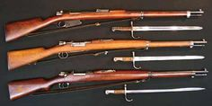 Turkish Mauser Infantry Rifles with sling and bayonet (from top to bottom): M1890, M1893, and M1903.